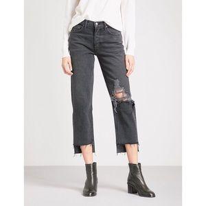 GRLFRND | Helena High Rise Distressed Black Jeans